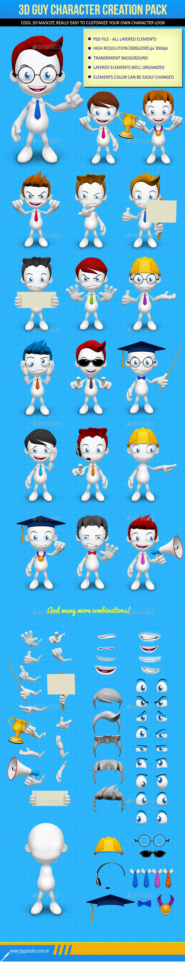 3d Guy Character Creation Pack Characters Illustrations
