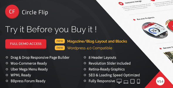 Circle Flip is our latest extraordinary design, with a unique touch of development to make website building easier than ever. A lot of efforts were made by the