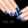 Nail Art Trend. Luxury Blue Nail Polish. Glitter Nail Stickers - PhotoDune Item for Sale