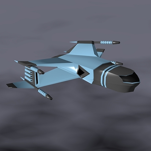 Lowpoly space attacker concept - 3DOcean Item for Sale