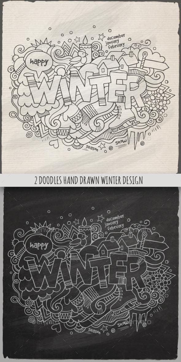 GraphicRiver 2 Winter Doodles Designs 8996765
