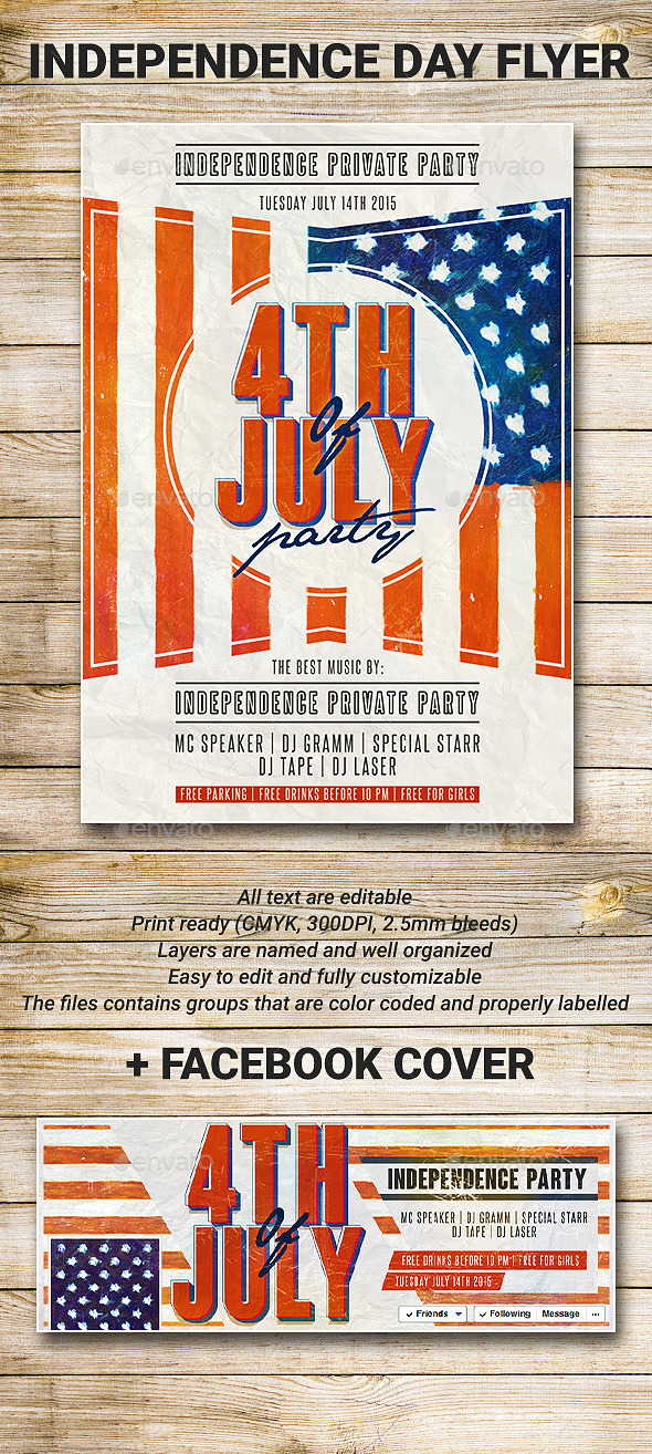 GraphicRiver US Flag 4th Of July Party Flyer 8980009