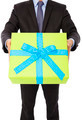 Businessman holding a gift. isolated on white background - PhotoDune Item for Sale