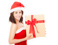 happy young woman with christmas gift box over white background - PhotoDune Item for Sale