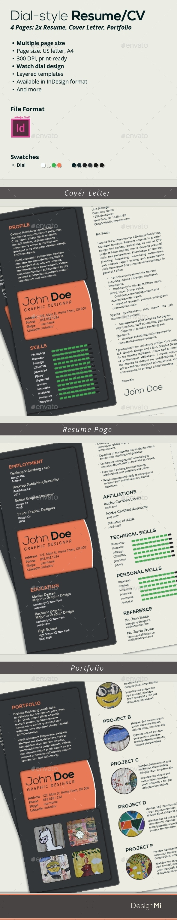 GraphicRiver Resume Template Dial Style 3 Pages 8997290