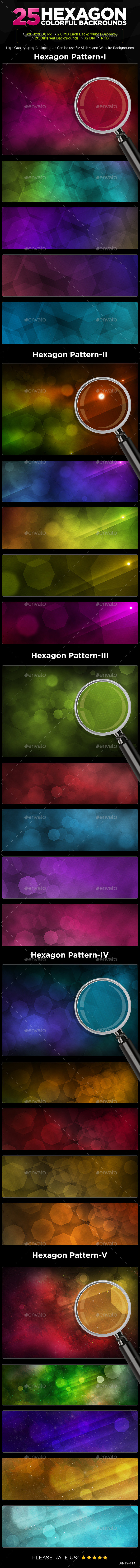 GraphicRiver 25 Hexagon Backgrounds 8997433