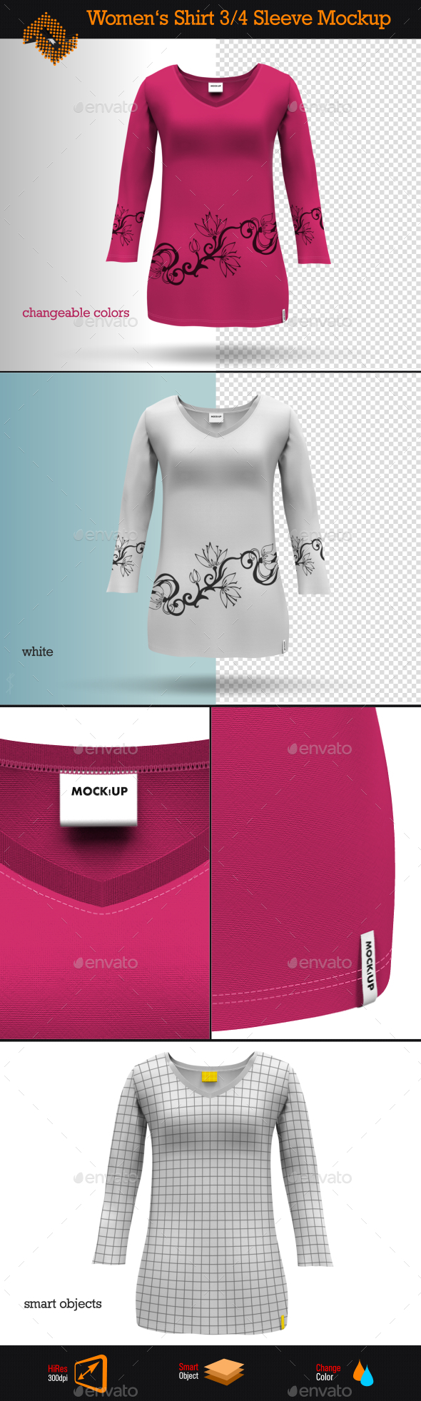GraphicRiver Womens 3 4 Sleeve Shirt Mockup 8997625