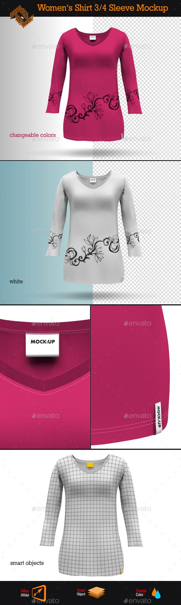GraphicRiver Womens 3 4 Sleeve Shirt Mockup 8997625