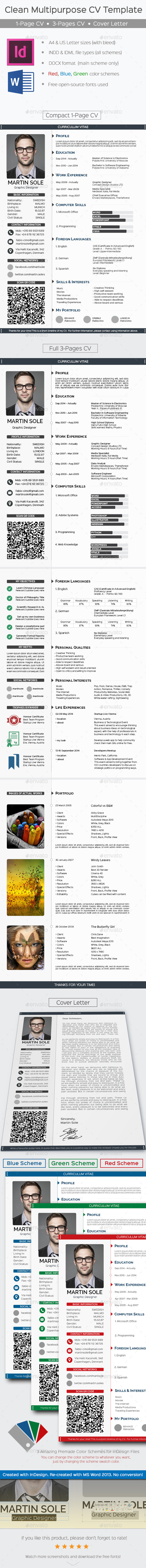 GraphicRiver Clean Multipurpose CV Template 8980498