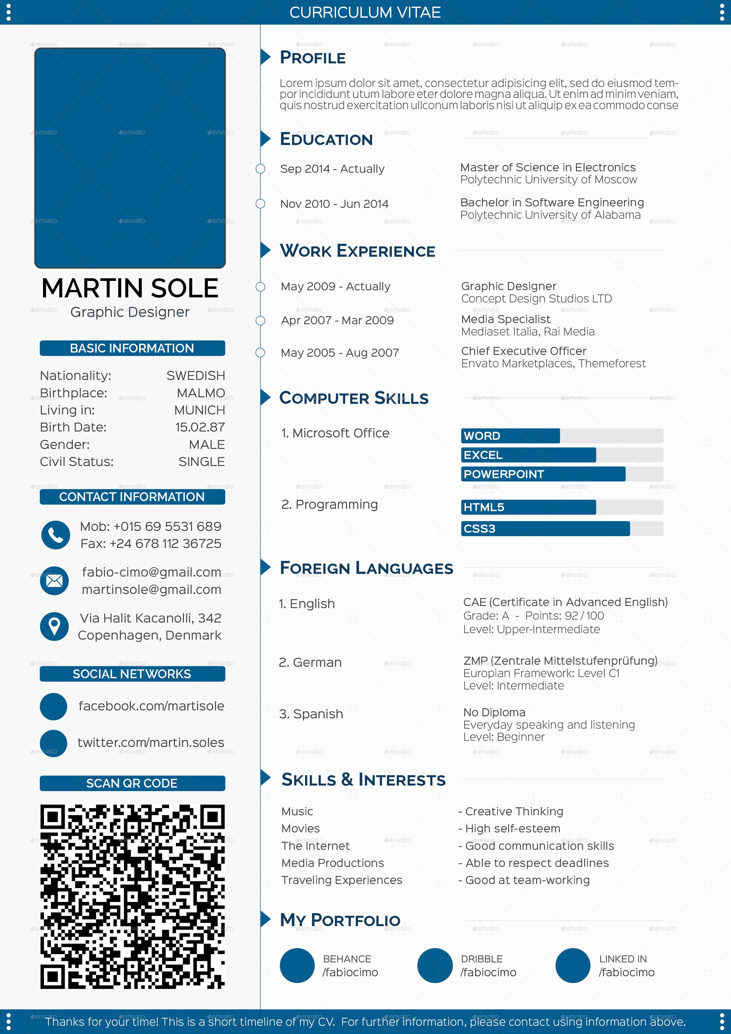 clean multipurpose cv template by fabiocimo graphicriver 1 page cv blue scheme jpg