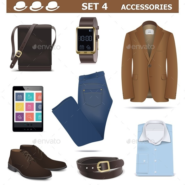GraphicRiver Vector Male Accessories Set 4 8997964