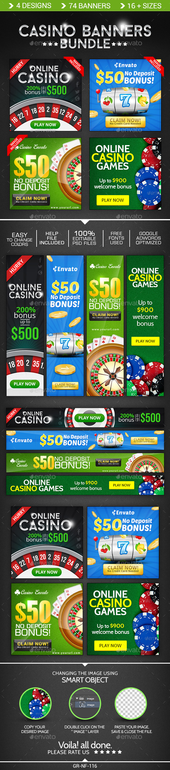GraphicRiver Casino Banner Design Bundle 4 Sets 8998050