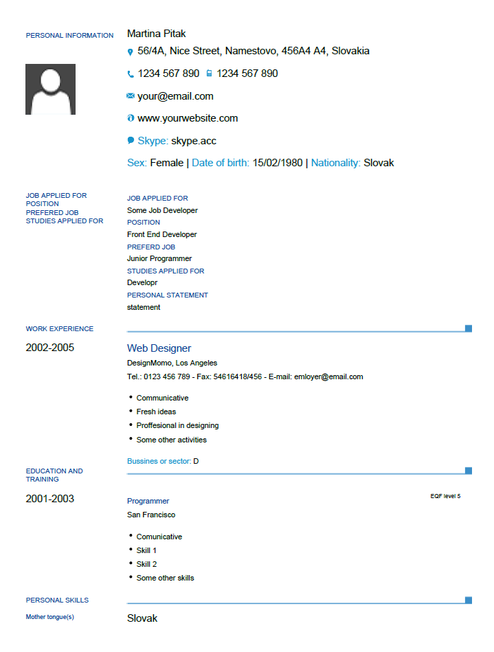europass  cv  template for formfiller by munka123