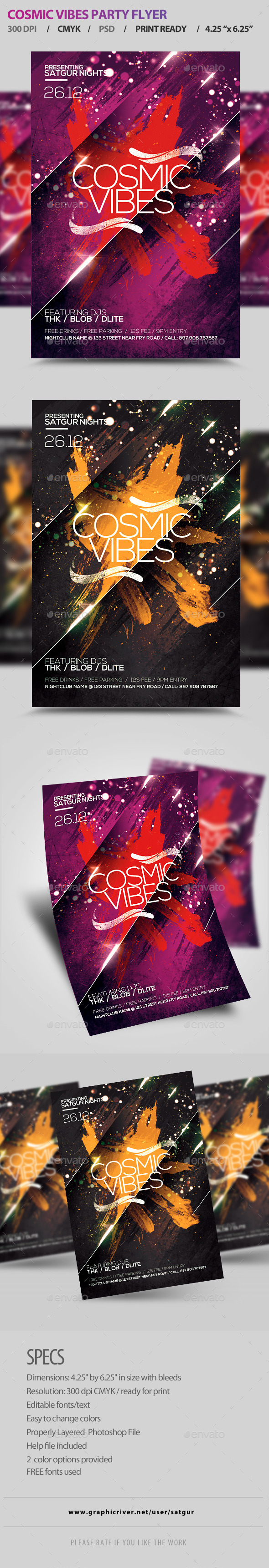 GraphicRiver Cosmic Vibes Party Flyer Template PSD 8998302