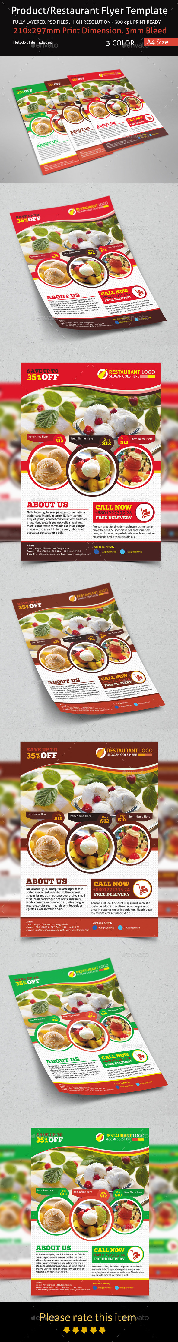 GraphicRiver Product Restaurant Flyer Template 8998348