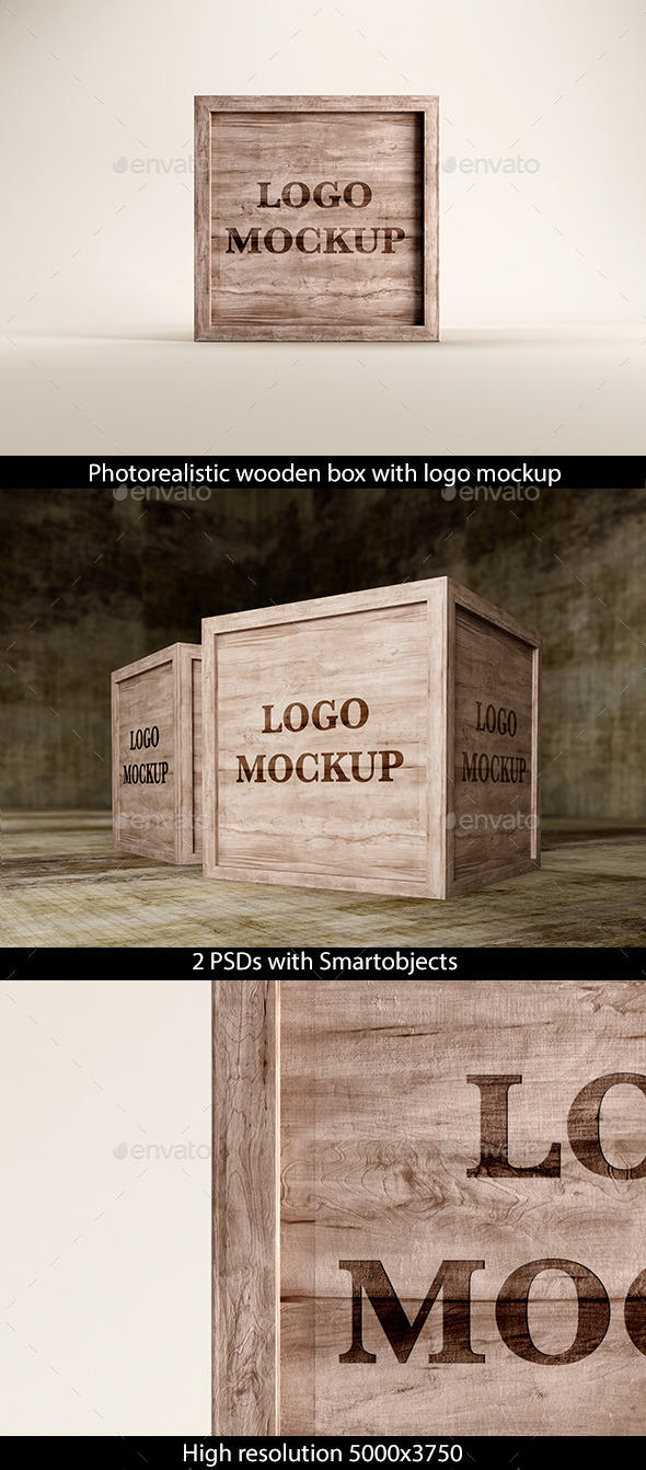GraphicRiver Wooden Box with Logo Mockup 8988879