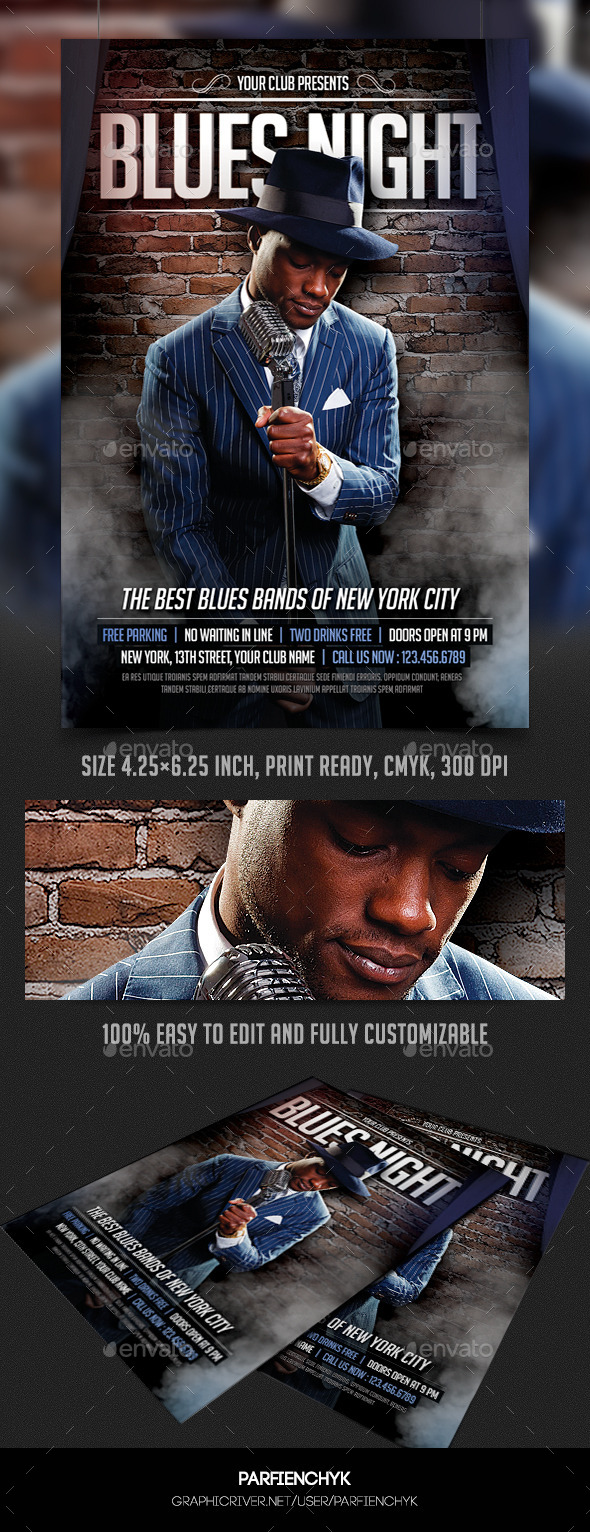 GraphicRiver Blues Night Flyer Template 8979220