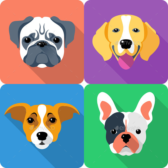 GraphicRiver Flat Dog Icon Set 8998708
