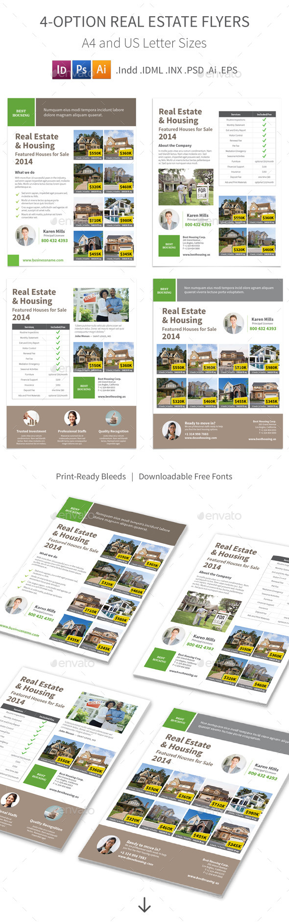 GraphicRiver Real Estate Flyers 4 Options 8998781