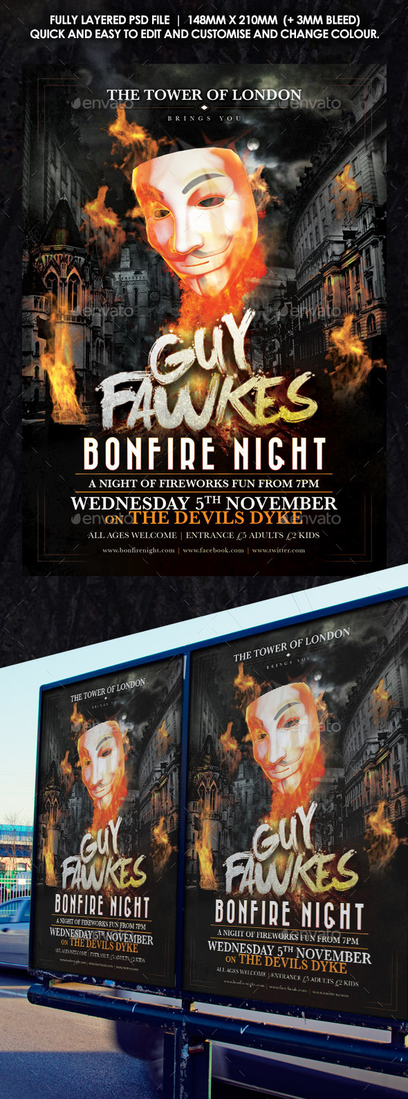 GraphicRiver Guy Fawkes Bonfire Flyer 8998812