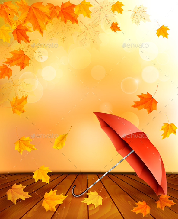 GraphicRiver Retro Autumn Background with Colorful Leaves 8999968