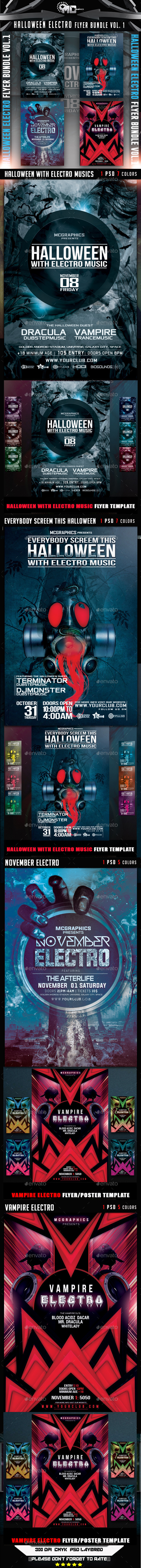 GraphicRiver Halloween Electro Flyer Bundle Vol 1 9000130