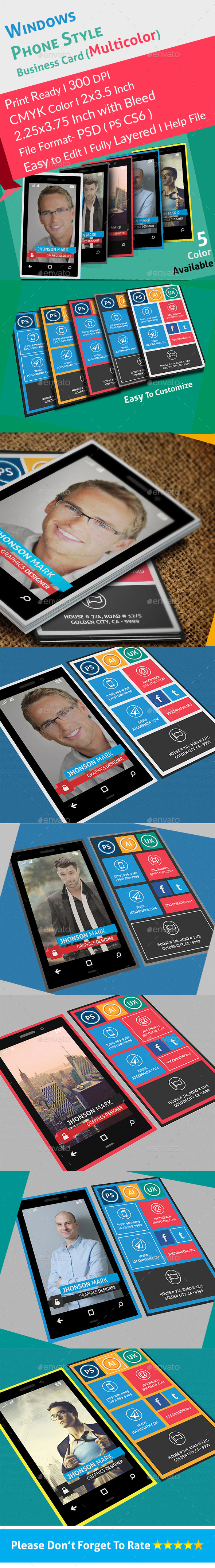 GraphicRiver Windows Phone Style Colorful Business Card 8980319