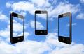 three modern mobile phones on the sky - PhotoDune Item for Sale
