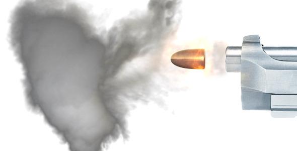 Extreme Slow Motion Of Bullet Leaving Gun Barrel W