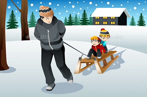 GraphicRiver Father Pulling His Sons Riding on a Sled 9000597