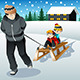 Father Pulling His Sons Riding on a Sled - GraphicRiver Item for Sale