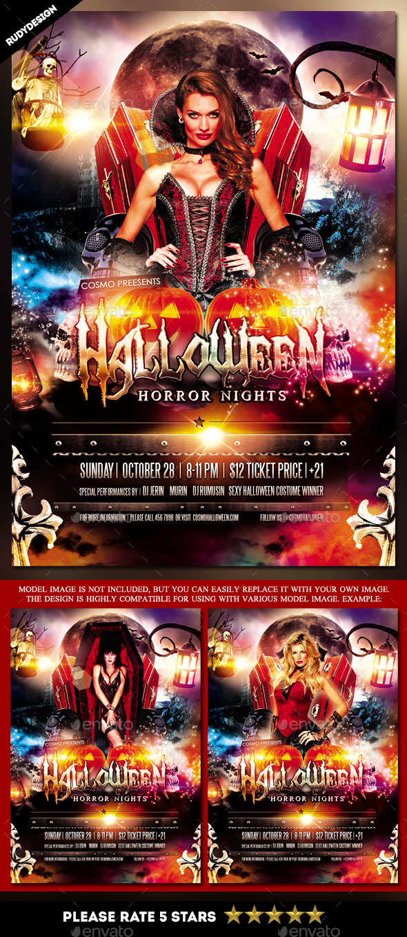 GraphicRiver Halloween Horror Night Costume Party Flyer 9000626