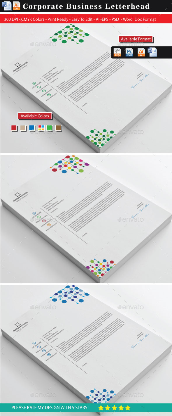 GraphicRiver Corporate Colourful Business Letterhead 9000627