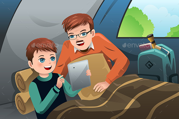 GraphicRiver Father and Son Reading a Tablet PC 9000635