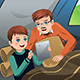 Father and Son Reading a Tablet PC - GraphicRiver Item for Sale