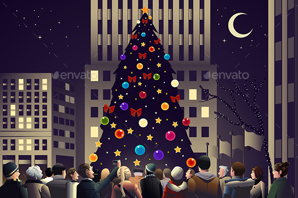 GraphicRiver Crowd in the City Near Big Lit Christmas Tree 9000646