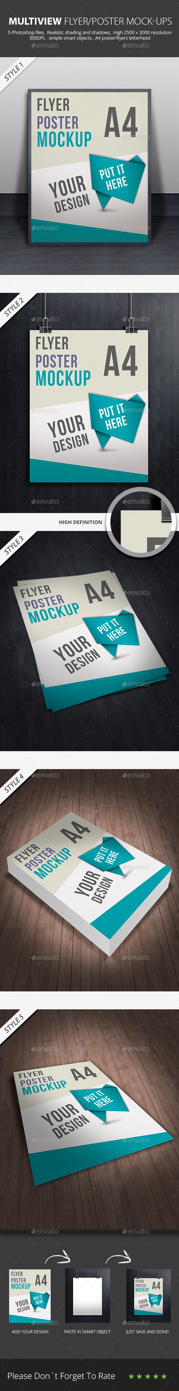 GraphicRiver Multiview Flyer Poster Mock-ups 9000718