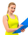 woman hold a folder of papers and write - PhotoDune Item for Sale