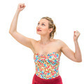 Portrait of a beautiful young woman with both arms on the air - PhotoDune Item for Sale