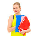 woman with a folder on a white background - PhotoDune Item for Sale
