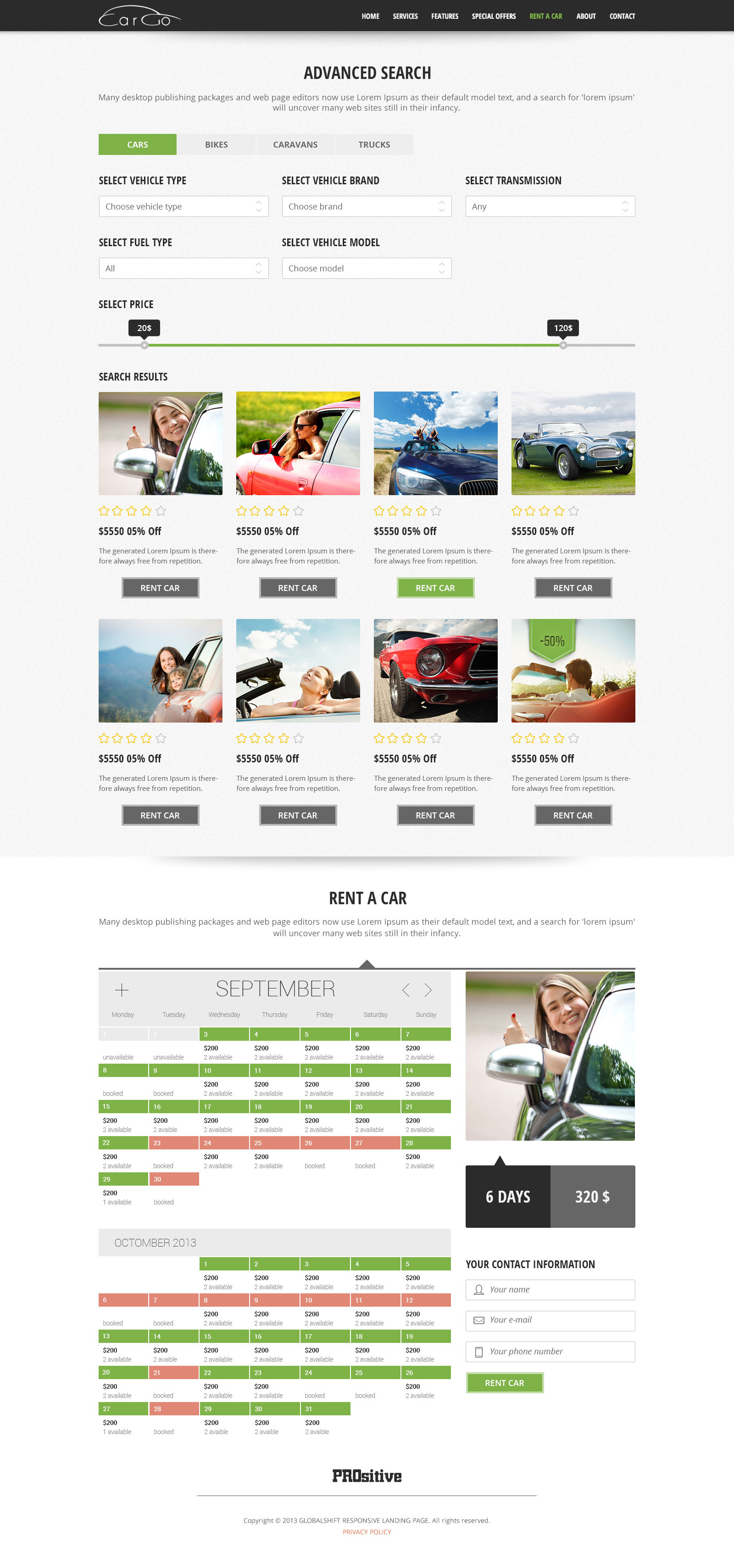 CarGo - Online Booking PSD Template - Desktop - Booking Page