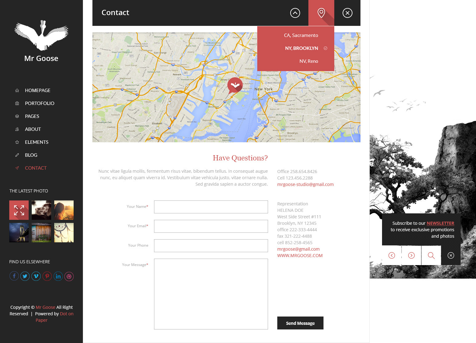 Mr Goose - Creative PSD Template - Desktop - Contact