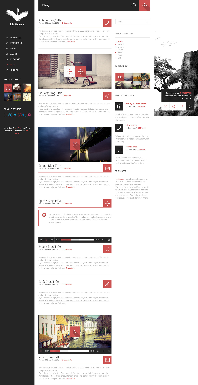 Mr Goose - Creative PSD Template - Desktop - Blog