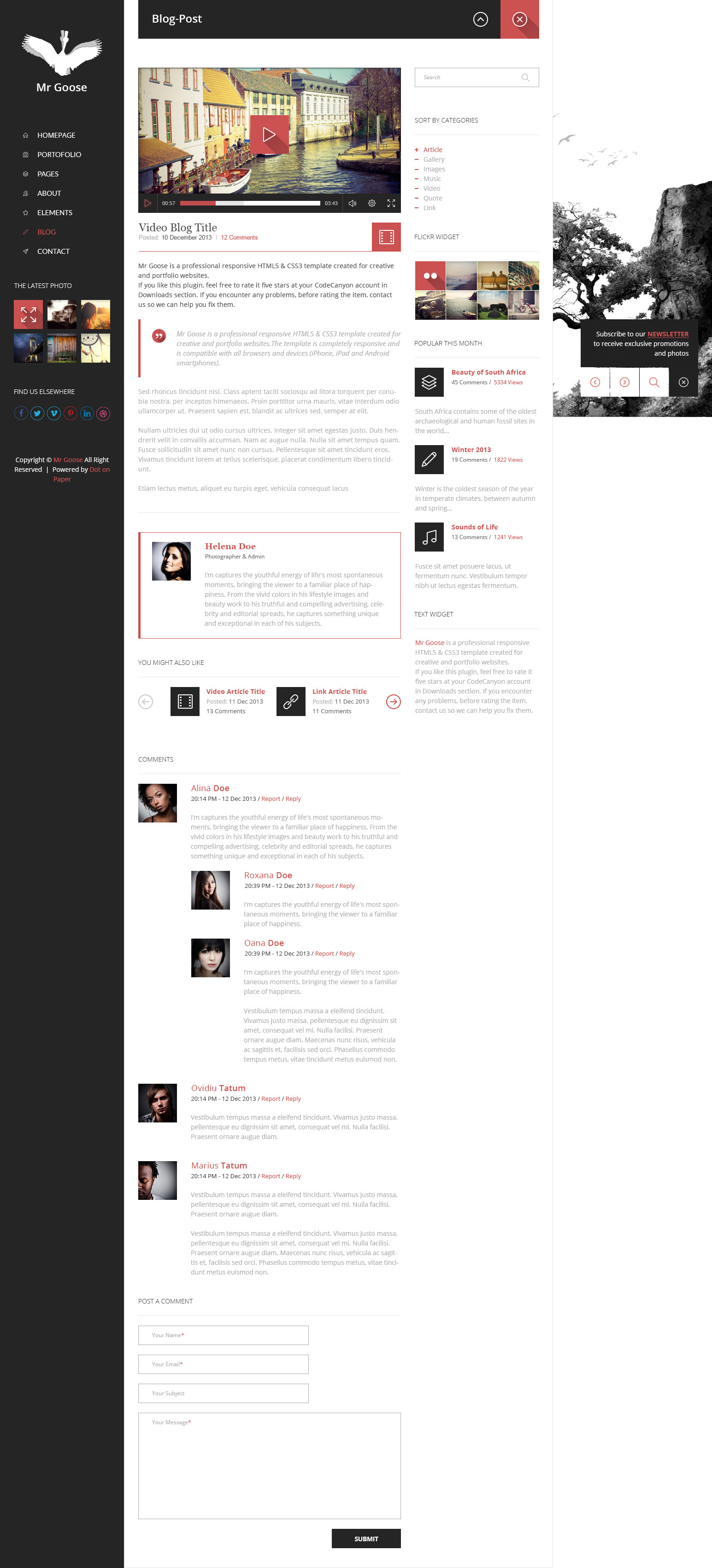 Mr Goose - Creative PSD Template - Desktop - Blog Post