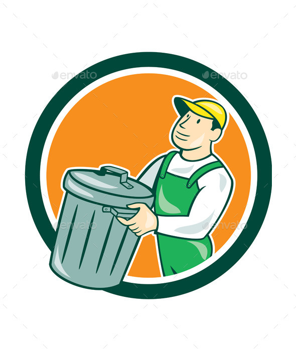 GraphicRiver Garbage Collector Carrying Bin Circle Cartoon 9001133