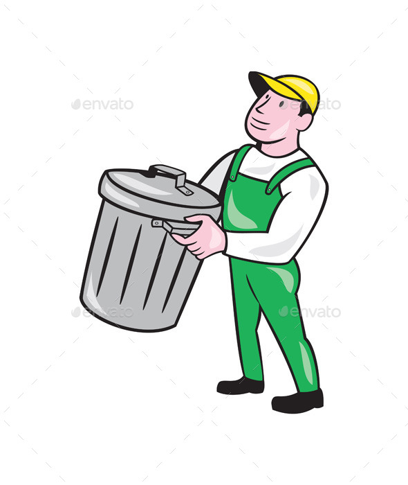GraphicRiver Garbage Collector Carrying Bin Cartoon 9001134