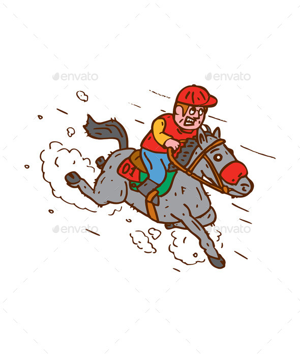 GraphicRiver Jockey Horse Racing Cartoon 9001152