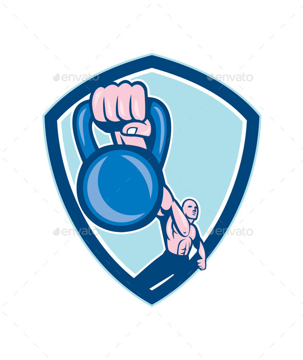 GraphicRiver Weightlifter Lifting Kettlebell Shield Cartoon 9001157