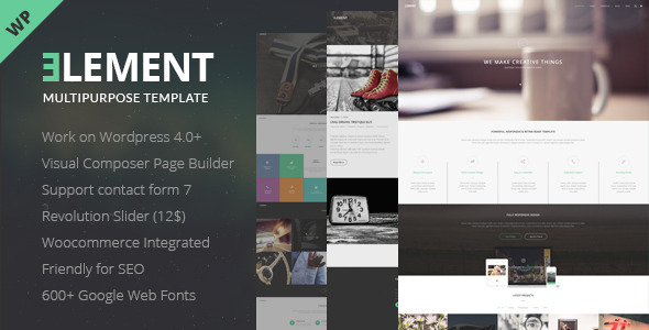 Description Element – is clean Multipurpose WP Theme and ecommerce theme. It is great, professional and easy to use. You can use it for, business, Photo S