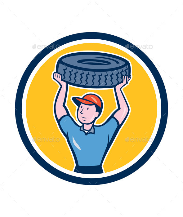 GraphicRiver Tireman Mechanic With Tire Cartoon Circle 9001322
